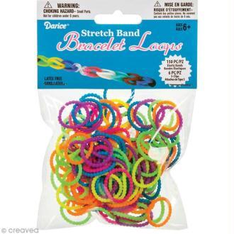 Recharge bracelet Loops 150 élastiques - Assortiment opaque + 6 fermoirs