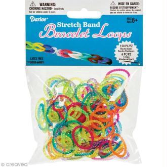 Recharge bracelet Loops 150 élastiques - Assortiment transparent + 6 fermoirs