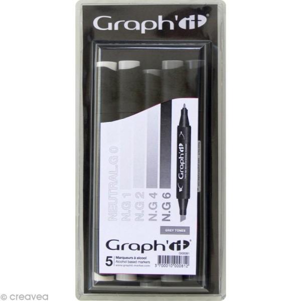 Assortiment Feutre à alcool Graph'it - Grey tones x 5 - Photo n°1