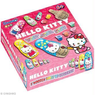 Kit poupée en bois à peindre - Hello Kitty x 5