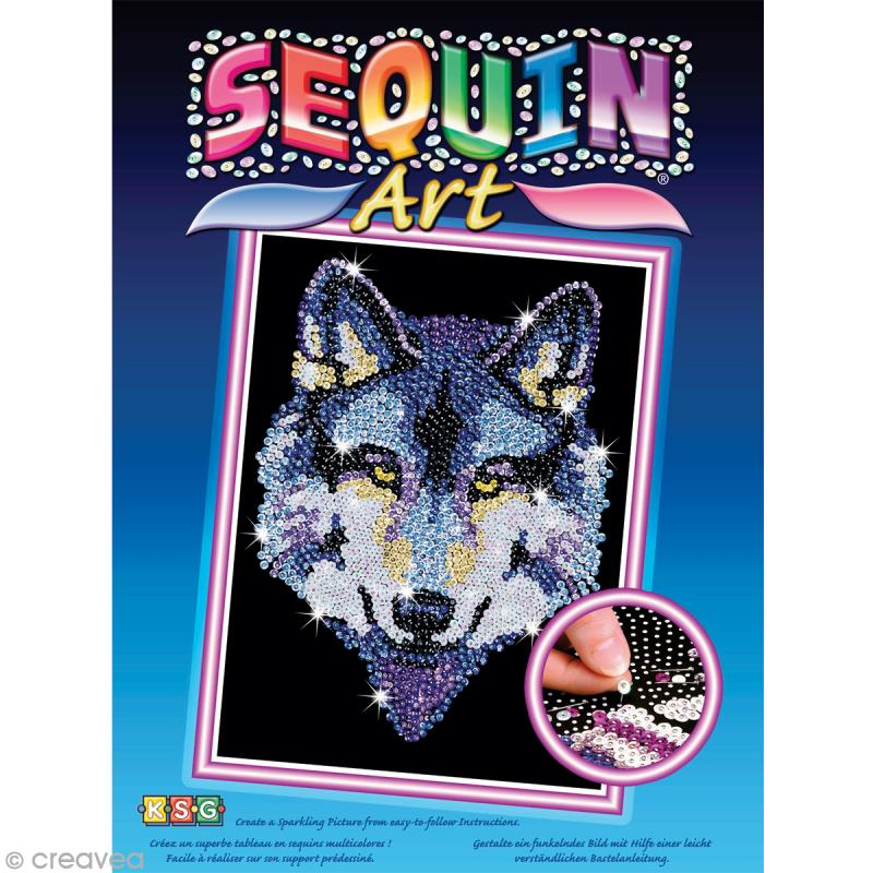 Tableau sequin art loup 25 x 34 cm sequin art creavea for Tableau en sequin