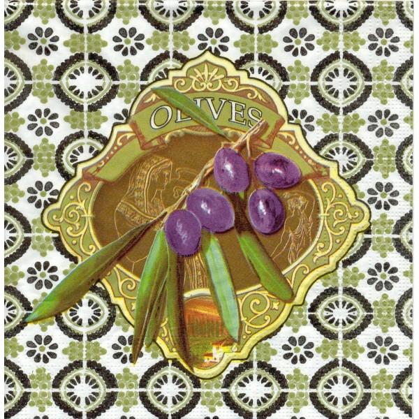 4 Serviettes en papier Olives Mosaique Format Lunch - Photo n°1