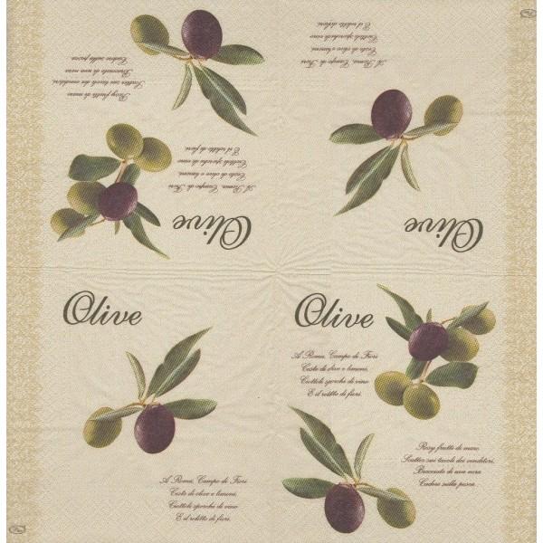 4 Serviettes en papier Branches d'Olivier Olives Format Lunch - Photo n°2
