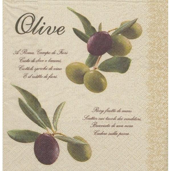 4 Serviettes en papier Branches d'Olivier Olives Format Lunch - Photo n°1