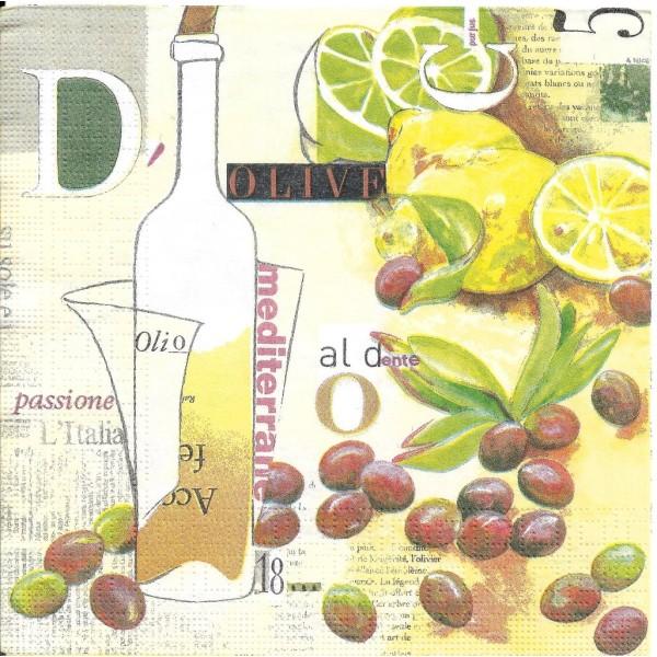 4 Serviettes en papier Cuisine Olives Format Lunch - Photo n°1