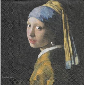 4 Serviettes en papier La Jeune Fille à la perle Johannes Vermeer Format Lunch