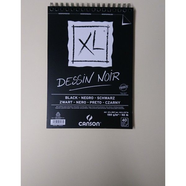 Carnet A4 Canson XL - Dessin noir - 40 feuilles - Photo n°2