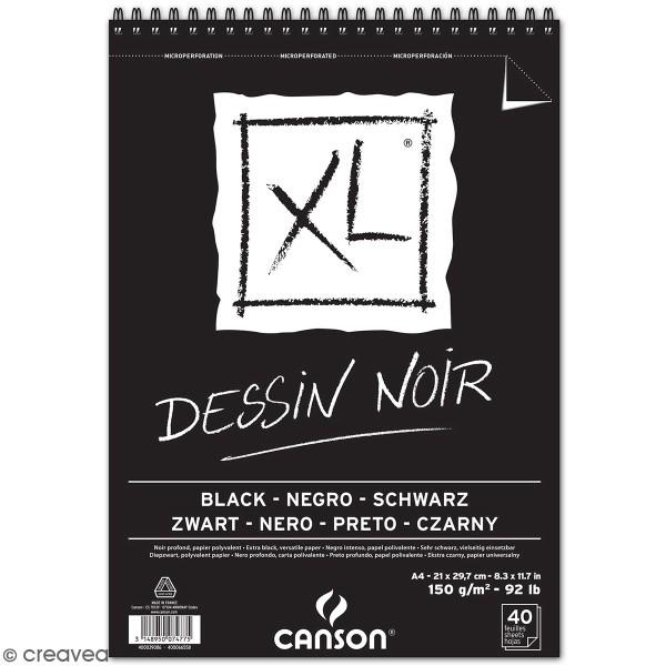 Carnet A4 Canson XL - Dessin noir - 40 feuilles - Photo n°1