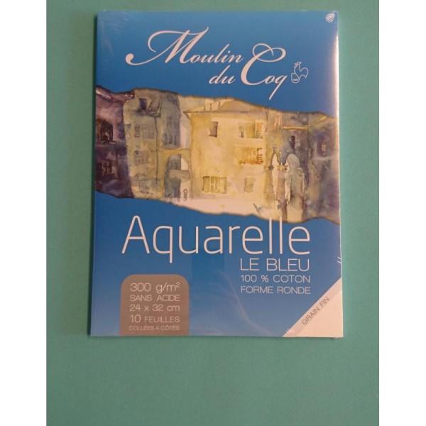 Aquarelle le bleu 24x32cm Hahnemuhle - Photo n°1