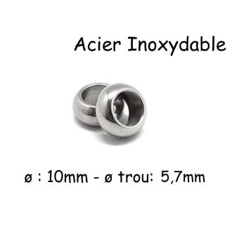 4 Perles Rondes Donut à Gros Trou En Acier Inoxydable Argenté 10mm