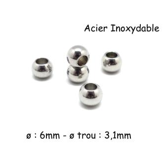 10 Perles Rondes En Acier Inoxydable Argenté 6mm à Gros Trou