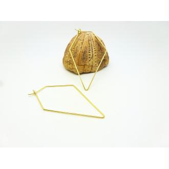 4 Supports boucles d'oreille type Créole - diamant - 55*30mm - doré clair