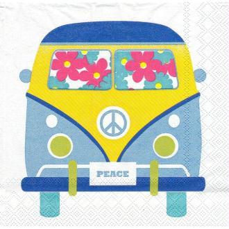 4 Serviettes en papier Bus Voyage Hippie Format Cocktail