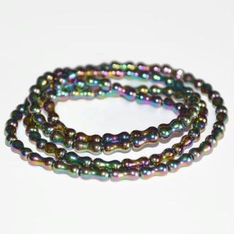 70 Perles translucide Forme Os Electroplate Multicolore 8x4mm