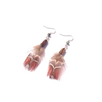 Boucles d'oreilles plumes Tragopan, Bois de patikan, Turquoise Africaine 7 CM