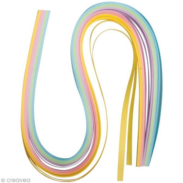 Papier pour quilling 50 x 0,6 cm - Pastel - Assortiment x 100 - Photo n°1