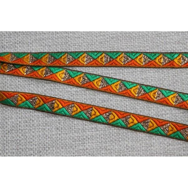 Galon brodé géométrique ou ruban de 1.5 cm de large . - Photo n°1