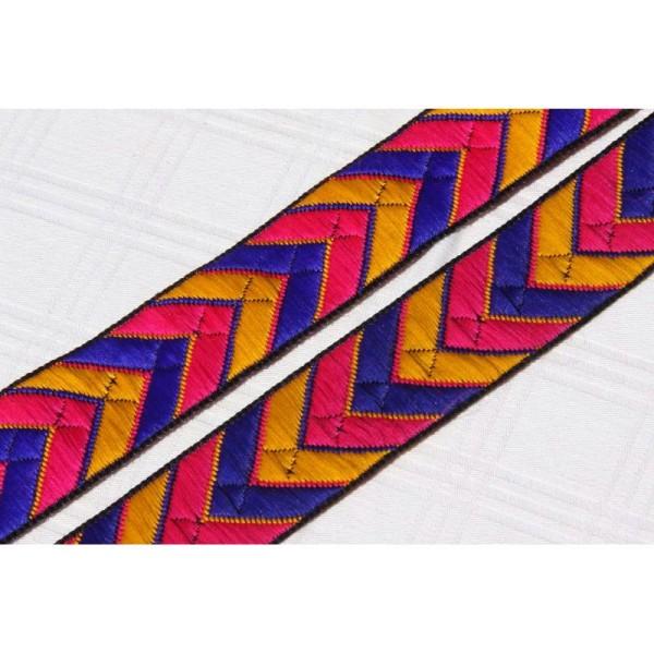 Galon brodé géométrique ou ruban de 3.5 cm de large . - Photo n°1
