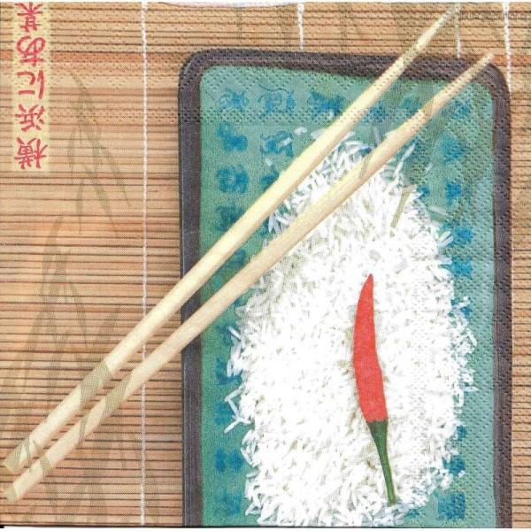 4 Serviettes en papier Cuisine Asie Format Lunch - Photo n°2