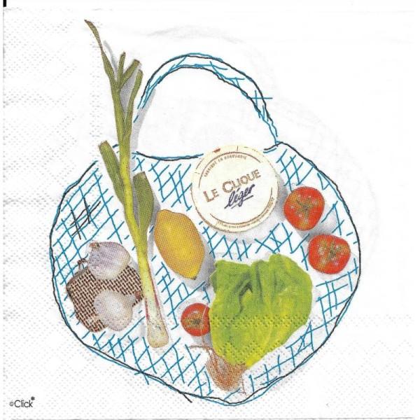 4 Serviettes en papier Sac de Courses légume fruit Format Lunch - Photo n°2
