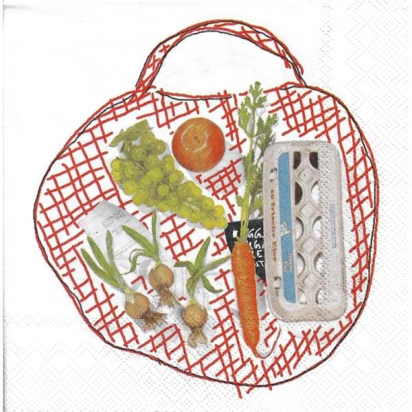 4 Serviettes en papier Sac de Courses légume fruit Format Lunch - Photo n°1