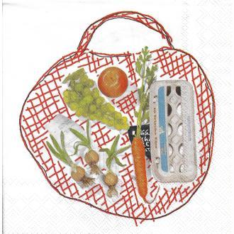 4 Serviettes en papier Sac de Courses légume fruit Format Lunch