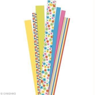 Papier quilling 90 cm - Jardin fleuri jaune - 90 pcs