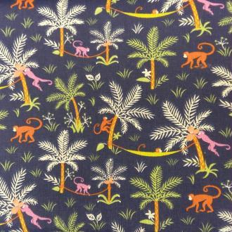Tissu singes et palmier bleu marine - vendu par 25 cm