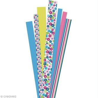 Papier quilling 90 cm - Jardin fleuri rose - 90 pcs