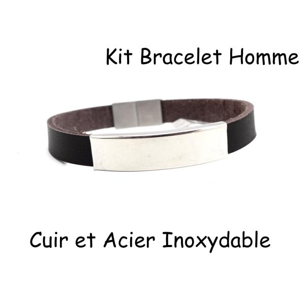 2ca90325cf7 Kit Bracelet Homme Cuir Marron Foncé Et Fermoir Aimanté En Acier Inox -  Photo n°