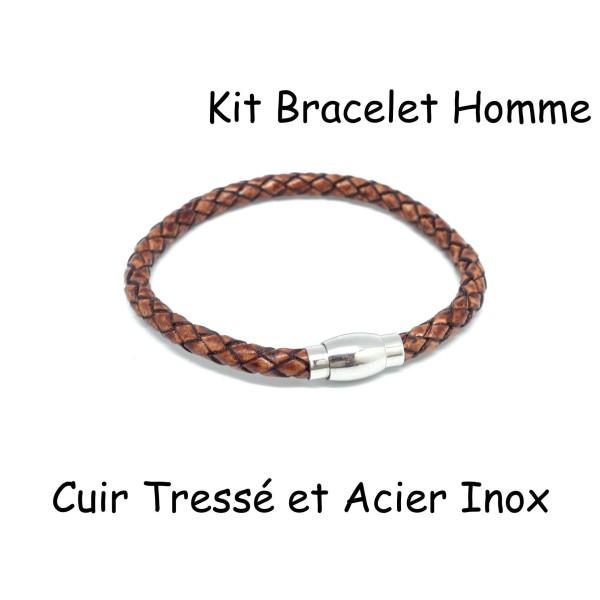 e420132decca9 Kit Bracelet Homme Cuir Tressé Marron Et Fermoir Aimanté En Acier Inoxydable  6mm - Photo n