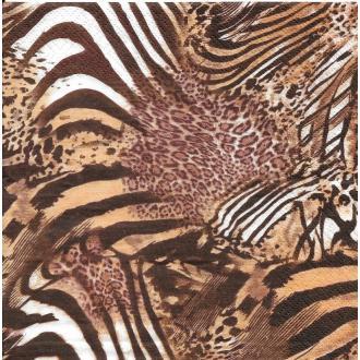 4 Serviettes en papier Afrique Peau d'animal Format Lunch