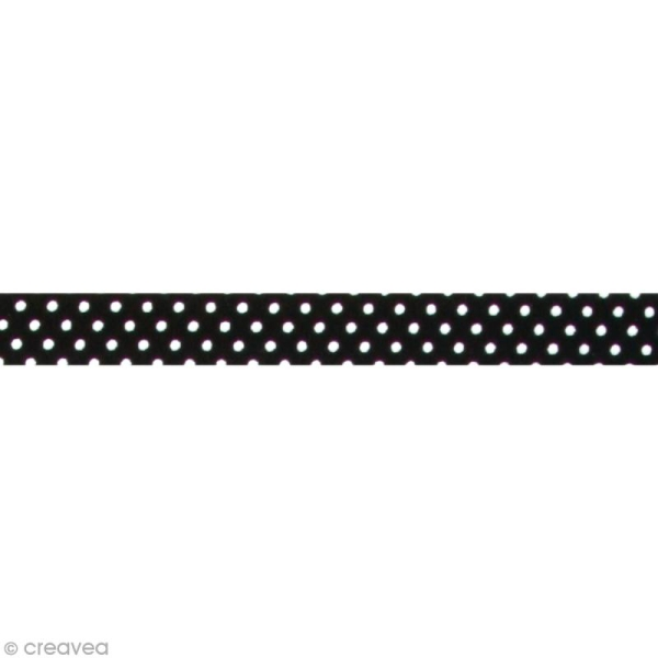 Fabric tape thermofixable - noir pois blancs - 15 mm x 5 m - Photo n°1