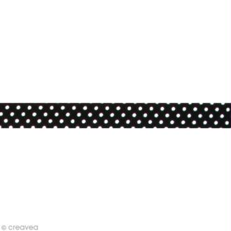 Fabric tape thermofixable - noir pois blancs - 15 mm x 5 m