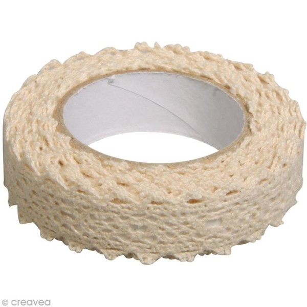 Fabric tape thermofixable - Dentelle beige - 17 mm x 2,5 m - Photo n°2