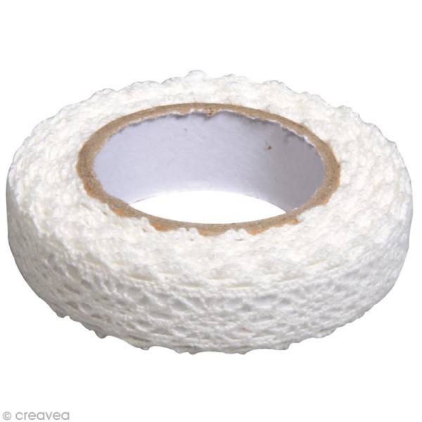 Fabric tape thermofixable - Dentelle blanche - 17 mm x 2,5 m - Photo n°2