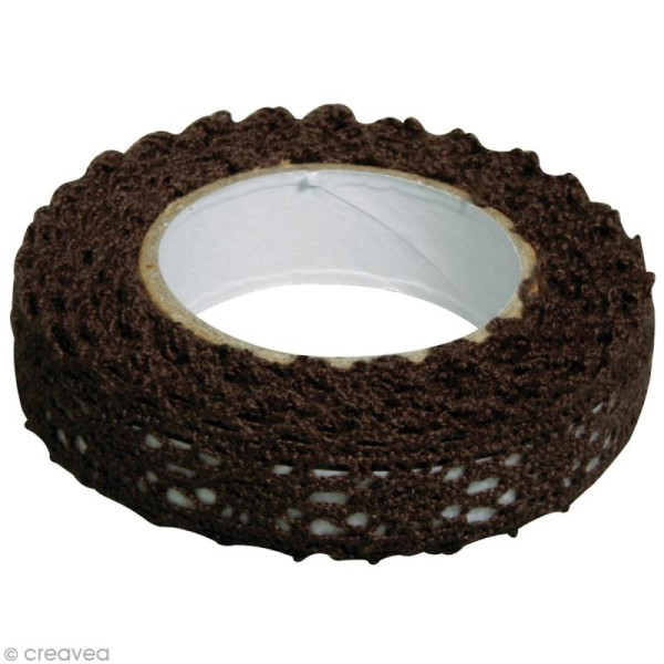 Fabric tape thermofixable - dentelle brune foncée - 17 mm x 2,5 m - Photo n°2