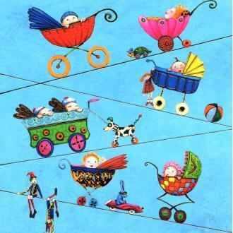 Les poussettes 07 - carte postale