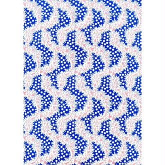 Guirlande rose et bleu fond ivoire, papier indien
