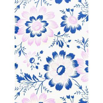 Grande fleur parme bleu fond ivoire, papier indien