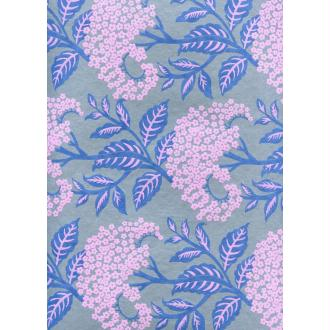 Fleur de carotte sauvage violine et bleu, papier indien