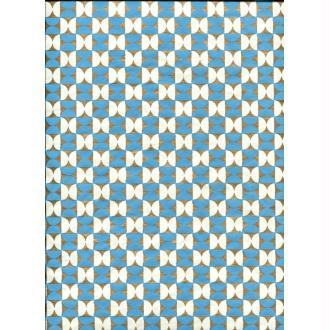 Sablier turquoise blanc et or, papier fantaisie indien