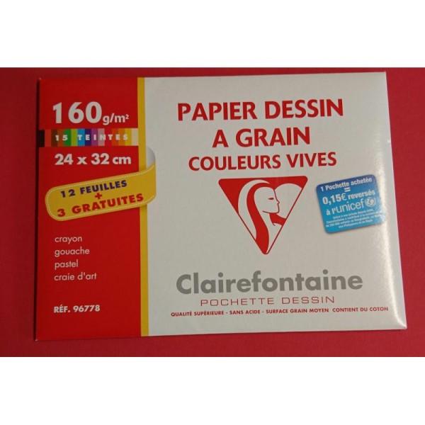 Papier à dessin à grain couleurs vives Clairefontaine - Photo n°1