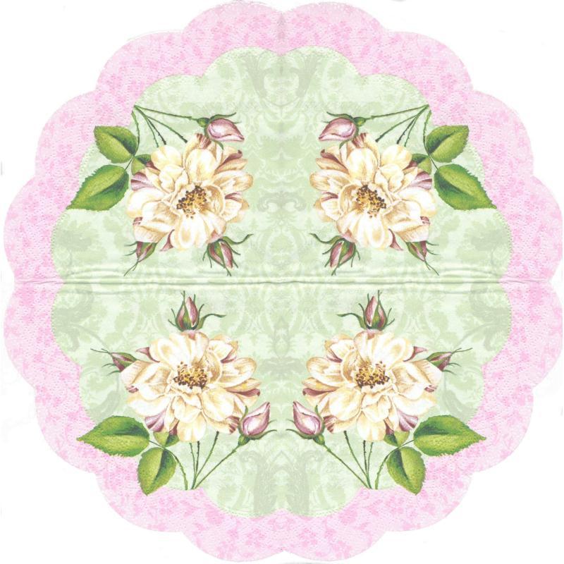 4 Serviettes en papier Fleurs Format Rond - Serviette ...