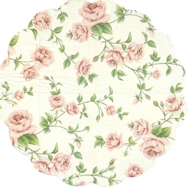 4 Serviettes en papier Décor Roses Format Rond - Serviette ...