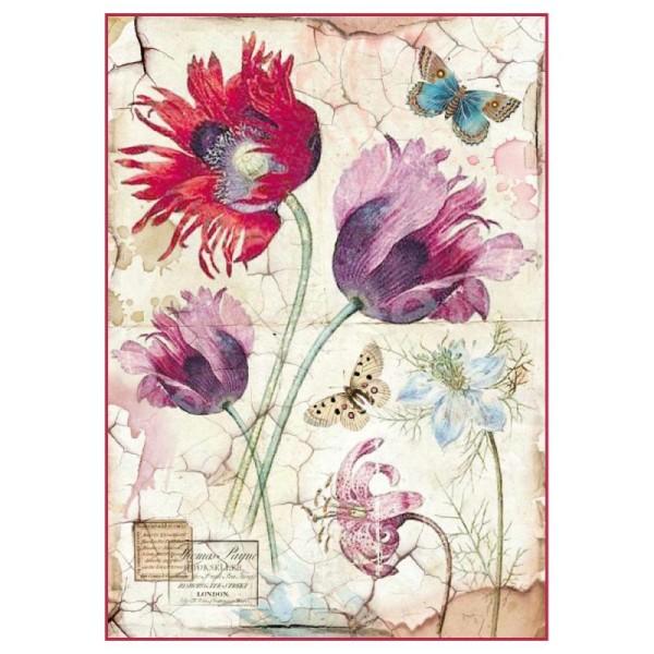 Papier de riz pour decoupage Scrapbook Craft Feuille Vintage Violet Roses