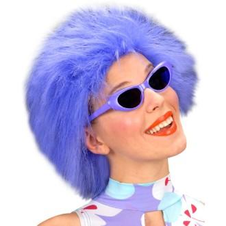 Perruque pelucheuse néon bleue