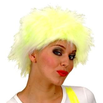 Perruque pelucheuse néon jaune (lime)