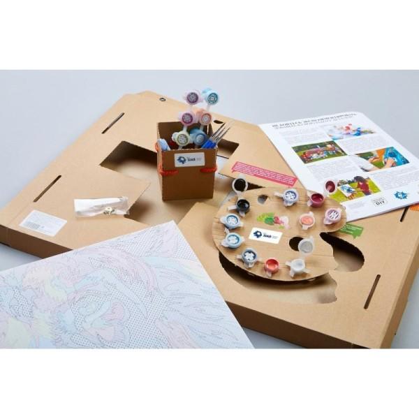 Kit de peinture par numéros - Bouledogue arc-en-ciel - 50x40cm - Photo n°3