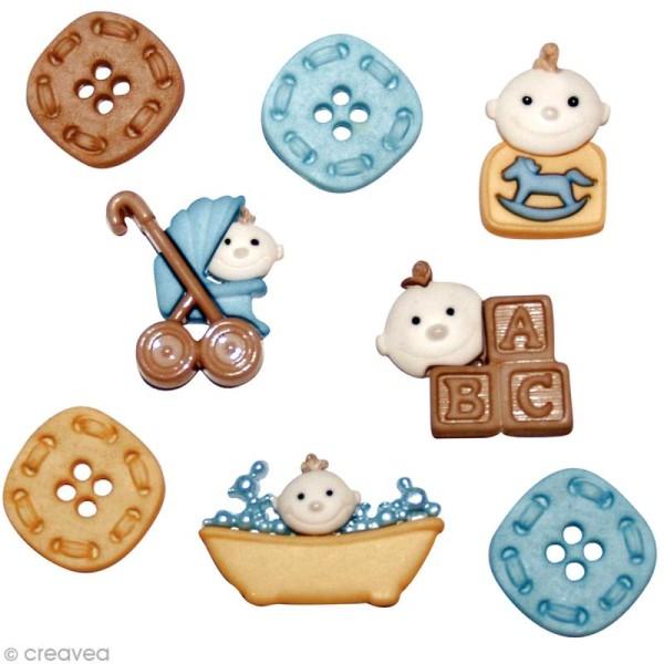 Assortiment de boutons décoratif - bébé garçon x 8 - Photo n°1